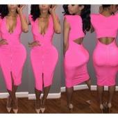 Fashion Ladies Women Sexy Deep V Neck Front Zipper Slim Bodycon Pencil Dress Casual Club Dress