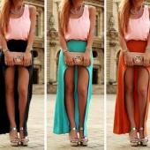 Lady Women's Fashion Irregular Chiffon Party Club Asymmetric Hem Solid Skirt