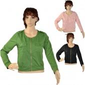 Fashion Women Round-neck Long Sleeve Outwear Jacket Black Pink Green