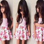 Fashion Kids Girls Strap Solid Tank Vest Tops Elastic Waist Floral Pleated Mini Skirt Two Piece Set
