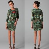 Fashion Ladies Women O-Neck Print Stretch Bodycon Package Hip Party Pencil Dress