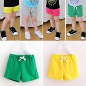 Cute Kids Girls Fashion Elastic Waist Candy Color Solid Casual Beach Shorts