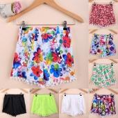 Women Fashion Colorful Tassel Casual Mini Shorts Beach Irregular Shorts