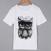 Men Korean Casual round Neck Animal Print Short Sleeve T-shirt