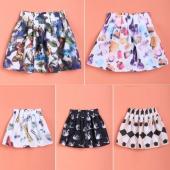 Fashion Women A-Line Organza Patchwork Casual Retro Style Mini Print Skirt