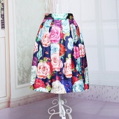 European Fashion Women's Elastic Waist Floral Printed Knee-length Pleated Skirt