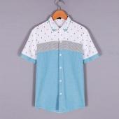 Fashion Men's Casual Slim Short Sleeve Turndown Neck Front Button Dot Patchwork Shirts