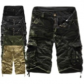 Men Camouflage Army Cargo Shorts Outdoor Loose Running Shorts Big Size