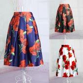 Fashion Ladies Women Elegant Big Red Flowers Print High Waist Pleated Casual Skirt