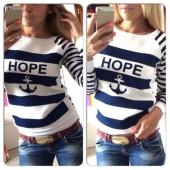Fashion Women Ladies Printing Stripe Long Sleeve Slim Casual Sports Sweatshirt