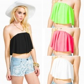 Fashion Lady Women's Sexy Off-shoulder Strapless Ruffle Crop Vest Tops