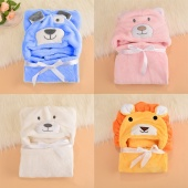Baby Infant Child Hooded Towel Blanket Cute Animal Design Wrap Bath Towel