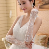 Elegant Bridal Gloves Lace Transparent Fingerless Long White Elbow Gloves Wedding Prom Gloves