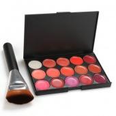 15 Color Lip Gloss Makeup Cosmetics Glossy Lip Make Up Palette + Brush Set