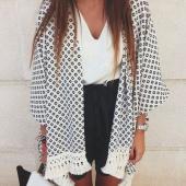Stylish Lady Women's Fashion Casual 3/4 Sleeve Long White Chiffon Plaid Printed Cardigan