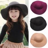 Fashion Retro Kids And Mum Wear Wide Brim Sun Beach Cap Hat