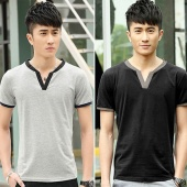 Fashion Men Casual V-Neck Short Sleeve Tops Sports Leisure Loose T-shirt