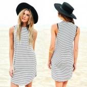 Fashion Ladies Women Casual O-neck Sleeveless Sundress Striped Stretch Dress