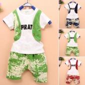 Fashion Kids Boy Wear Korea Two Pieces Short Sleeve False Two-pieces Vest T-shirt And Pants Set