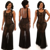 Stylish Women Lace Splicing Sleeveless Sexy Slim Backless Perspective Long Dress