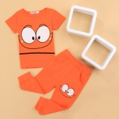 Fashion Baby Children Cartoon Short Sleeve Print T-shirt Tops And Pants Two Piece Set