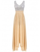 Sexy Women V-Neck Sleeveless High Waist Sequins Splice Pleated Maxi Dress Party Evening Wear