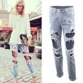 Women Fashion Vintage Style Torn Holes Denim Blue Pants Female Retro Pencil Long Pants