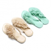 Sweet Ladies Women Flat Heel Flip Flops Shoes Flower Beach Casual Slipper Sandal