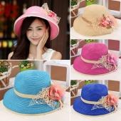 Fashion Women Girl Summer Beach Hats Applique Wide Brim Sun Beach Patchwork Straw Cap