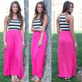 Stylish Ladies Women Stripe Elastic Waist Sleeveless Full Maxi Long Dress