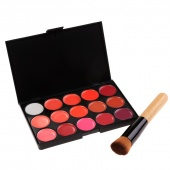 15 Colors Makeup Cosmetic Tool Lipstick Set Matte Palette Lip Gloss with Brush
