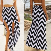 Summer Beach Casual Women Wavy Stripe High Waist Casual Split Long Skirt