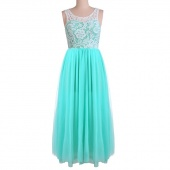 Stylish Ladies Women Sleeveless Lace Tulle Long Formal Evening Gown Wedding Party Dress