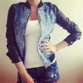 Stylish Ladies Women Slim Long Sleeve Synthetic Leather Patchwork Denim Coat Jacket