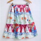 Girls Women Fashion Multicolor Print A-line Midi Skirt