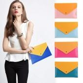 Ladies Fashion Korean Style Contrast Color Cool Clutch Bag Envelope Bag Briefcase File Bag