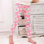 Cute Kids Girls Fashion High Elastic Waist Floral Pencil Pants Leggings