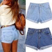 Korea Fashion Women Casual Solid Slim High Waist Short Denim Jeans Crimping Shorts