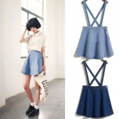 Casual Women Denim High Waist Cross Detachable Strap Pleated Suspenders Dress