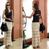 Fashion Lady Women's Slim Bodycon Apricot Knit Hollow Out Ankle Length Skirt