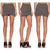 Sexy Women Mini Skirt Pleated Stripe Stretch Tight Business Package Hip Mini Skirt