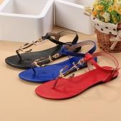 Fashion Women's Comfortable Casual T-Strap Flip Flops Flat Solid Sandals