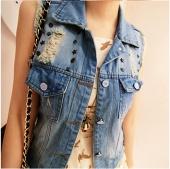 Stylish Ladies Women Casual Cute Waistcoat Turn Down Collar Rivet Sleeveless Denim Vest Jeans Jacket