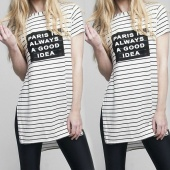 Ladies Women Letters Print Striped Short Sleeve Side Split Casual Loose Tops Blouse