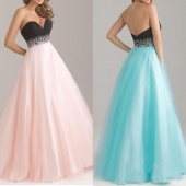 Stylish Ladies Women Sexy Bridesmaid Strapless Organza Party Wedding Maxi Dress