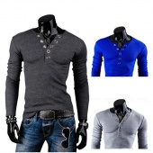 Men Wear Fashion V-neck Long Sleeve T-shirt Tops