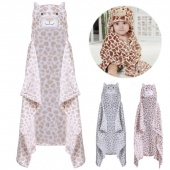 Animal Design Baby Newborn Hooded Bathrobe Bath Towel Blanket Leopard Cute Soft Cloak