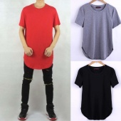 Men Fashion Casual round Neck Short Sleeve Irregular Hem Solid T Shirt Tops