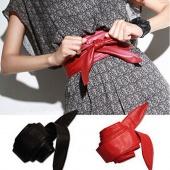 Fashion Stylish Ladies Women Leather Wrap around Self Tie Bowknot Belt