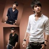 Fashion Stylish Men Cotton Long Sleeve Stand Collar V Neck T-shirt
